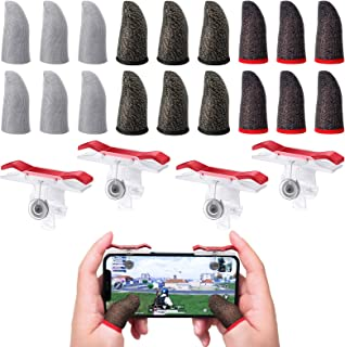 18 Pieces Mobile Gaming Finger Sleeves Touchscreen Finger Sleeve Anti-Sweat Breathable Finger Sleeve and 4 Pieces Aim Butt...