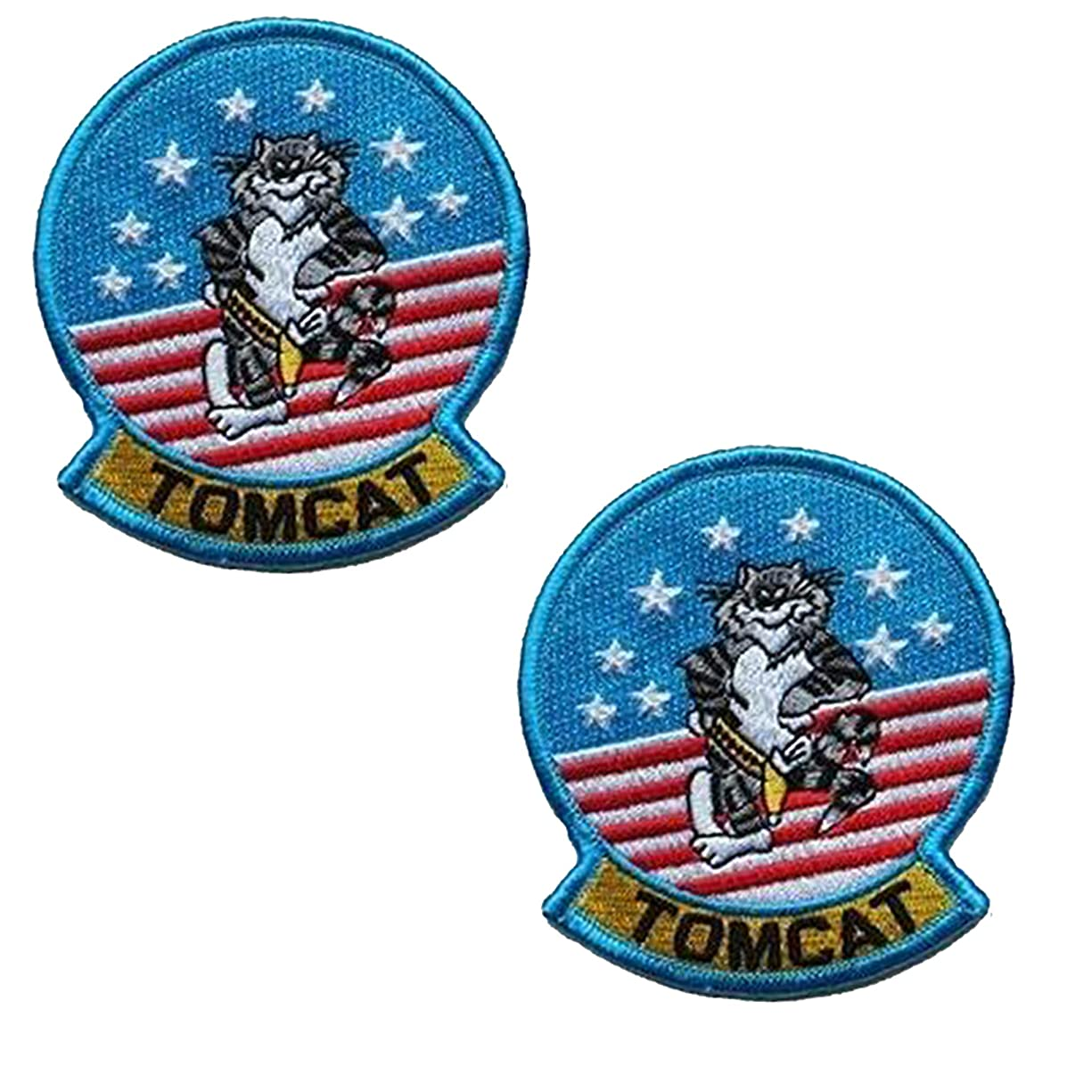 Tom Cat Top Gun Movie Costume Airforce Fighter Cosplay Costume Embroidered Patch Military Tactical Morale Fastener Hook Loop Backing Patches Appliques Badges 3.5 inch 2PCS