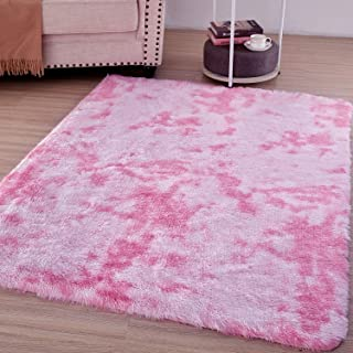 Amangel Super Soft Bedroom Area Rugs for Girls Cute Plush Rooms Decor Floor Shaggy Fur Rug Carpet for Baby Nursery Rooms 4x5.3 Feet, Random Pattern: Pink and White