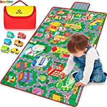 Kids Road Carpet Play Mat for Toy Cars, Portable Anti-Slip Large Play Rug for Toddlers with 6 Car, Children Educational Ro...