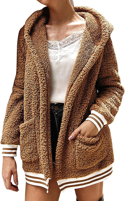 Haozin Womens Casual Fleece Cardigan Jacket Long Sleeves Open Front Hooded Warm Coat Outerwear With Pocket