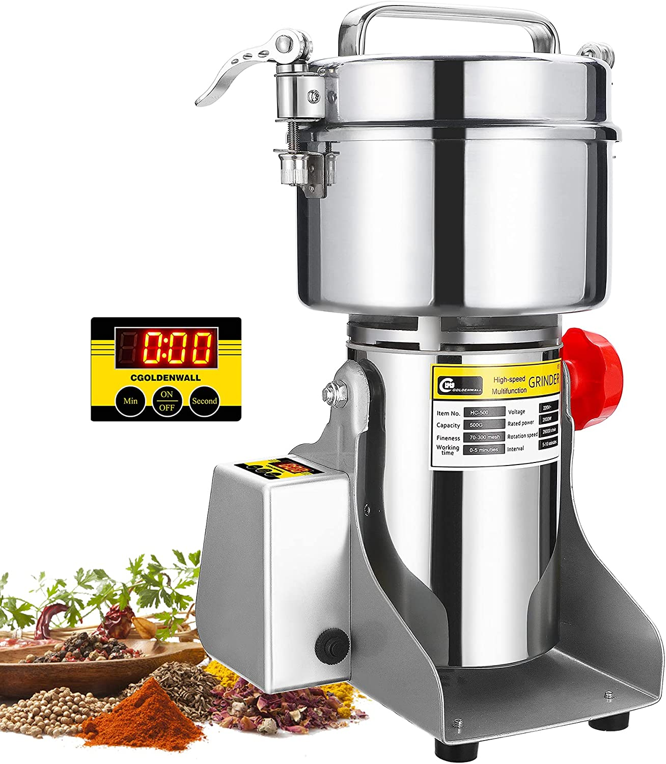 CGOLDENWALL Genuine Free Shipping LED Display Grain Super Special SALE held Grinder 500g Electric High-sp Mill