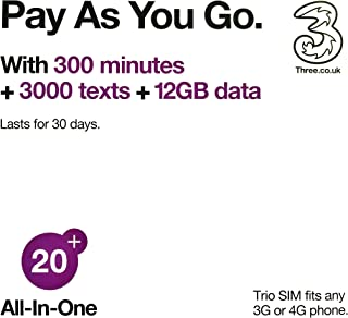 Europe (U.K.) prepaid sim with 42 countries - Three SIM Card with £20 Credit 300min+300texts+12GB data (Europe Prepaid Sim) 42 Destinations! 3 sim!