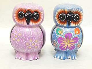 Set of 2 Wooden Owls Hand Carved and Hand Painted Wood Bali Home Decor Sculpture #N1536
