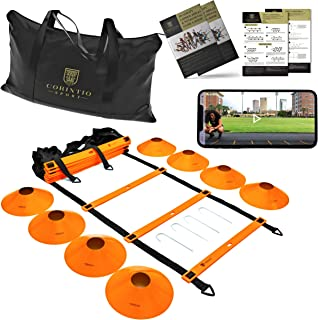 Corintio Sport Agility Ladder Speed Training Equipment Set - 20ft Workout Speed Ladder with Cones and Bag - Exercise Quick Ladders for Football, Soccer, Running, Basketball w/Footwork Drills Poster