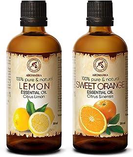 Set di Oli Essenziali - Olio di Limone 100 ml & Olio di Arancio 100 ml - 100% Puro - Perfetto per Diffusori, Umidificatori...