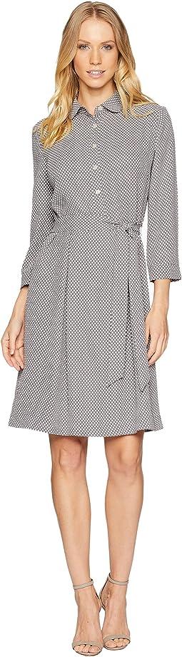 Shirtdress w/ Sash - Sequin Dot Printed