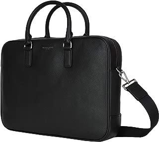 Michael Kors Russel Mens Leather Briefcase Laptop Bag (BLACK)