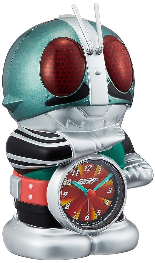 迅速うなり声拮抗する仮面ライダー 目覚まし時計 キャラクター アナログ おもしろ 音声 光 アラーム 緑 リズム時計 4SE502RH05