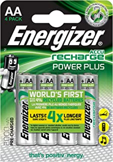 Energizer Rechargeable Batteries AA, Recharge Power Plus, Pack of 4