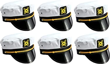 Adult Yacht Captain Sailor Hat for Nautical Bachelorette Boat Party and Cruise Ship Summer Sea Accessories (6 Pack) White