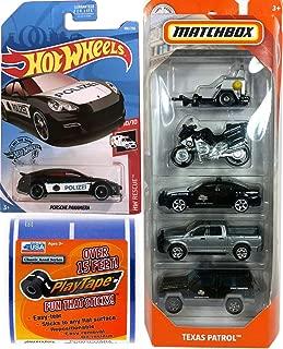 Hot Wheels Texas MBX Patrol Service Police Matchbox State Trooper / Highway Patrol Unit Cars / Trucks / Motorcycle Radar Bundled HW Rescue car HWPD Die-Cast + Metro City Road Tape 3 Items