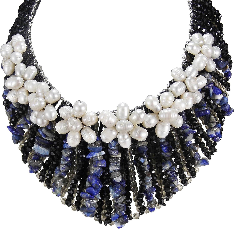AeraVida Floral Grandeur Cultured Freshwater Pearl and Simulated Blue Lapis-Lazuli Collar Statement Necklace