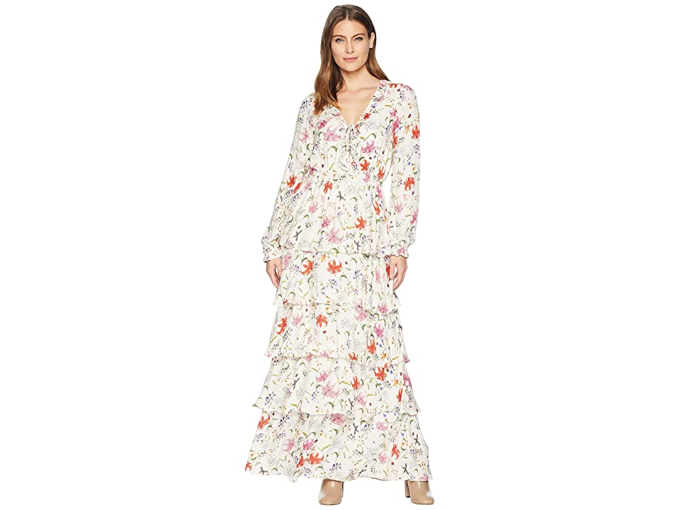 Hale Bob Floral Forever Printed Rayon Snake Maxi Dress (Ivory) Women