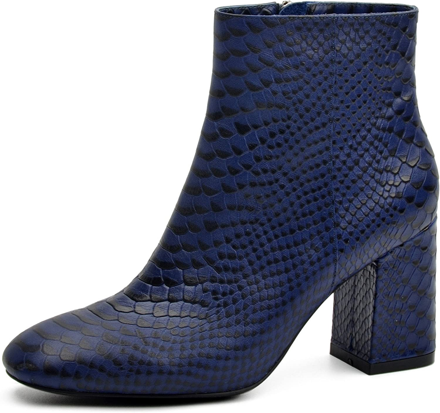 womenIN Snake Pattern Genuine Leather Boots for Women Fashion High Heels Spring Ankle Booties