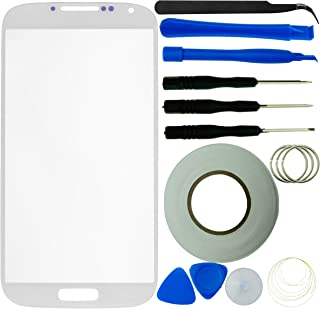 Eco-Fused Screen Replacement Kit Compatible with Samsung Galaxy S4 incl. Replacement Screen Glass for Samsung Galaxy S4 i9500 / 1 Pair of Tweezers/Roll of 2mm Adhesive Tape/Tool Kit/Cloth
