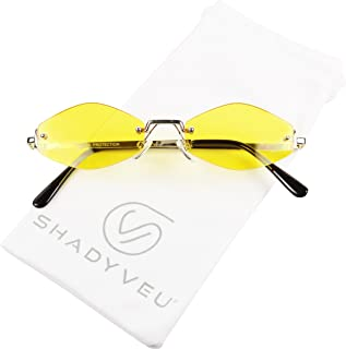 ShadyVEU Slim Narrow Diamond Hexagon Shape Sunglasses Rimless Metal Frame Candy Colored Tint Lens Skinny Fashion Shades