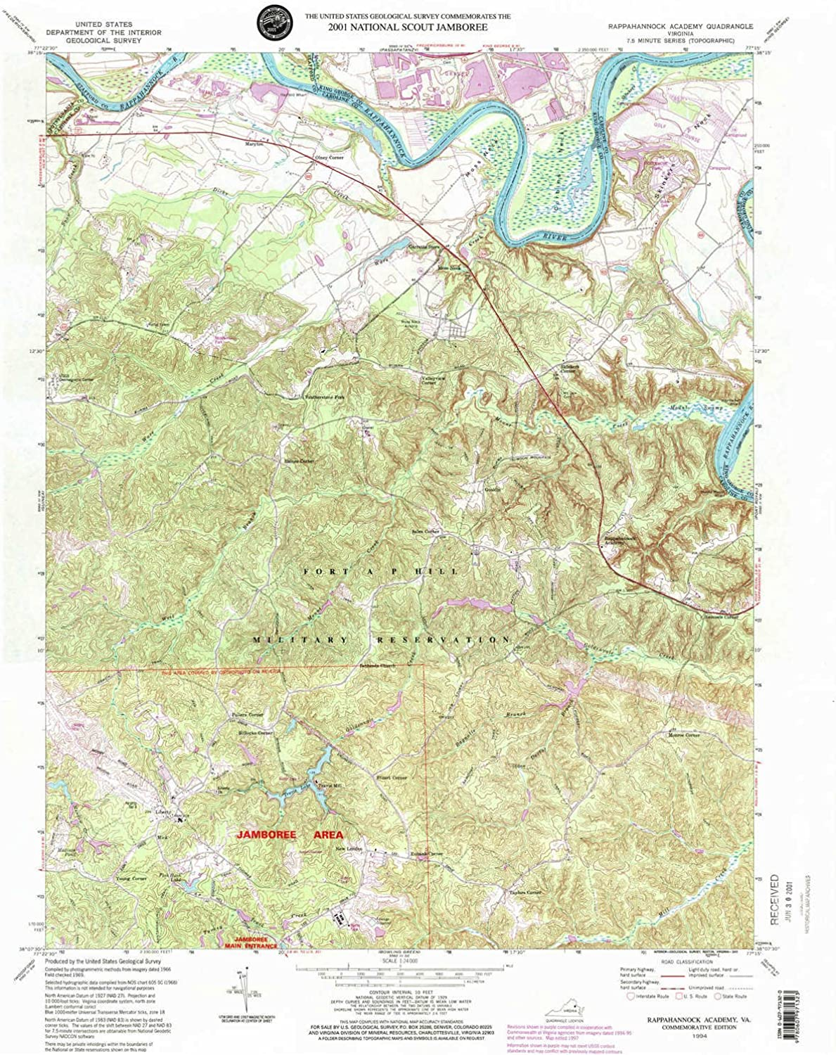 Rappahannock Academy VA topo map, 1 24000 Scale, 7.5 X 7.5 Minute, Historical, 1994, Updated 2001, 26.7 x 21.9 in