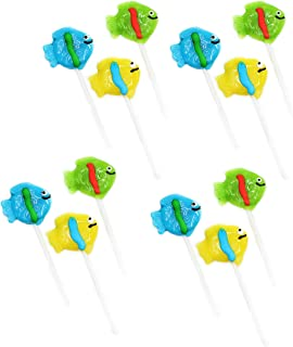 Kicko 2 Inch Tropical Fish Lollipops - Pack of 12 Assorted Fruit-Flavored Candy Suckers for Party Favors, Cake Decorations, Novelty Supplies or Treats for Halloween, Christmas, Baby Showers