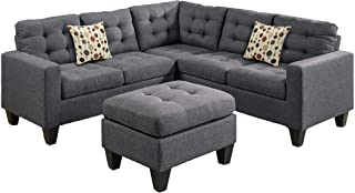 Poundex Bobkona Norton Linen-Like 4 Piece Sectional with Ottoman Set, Blue Grey