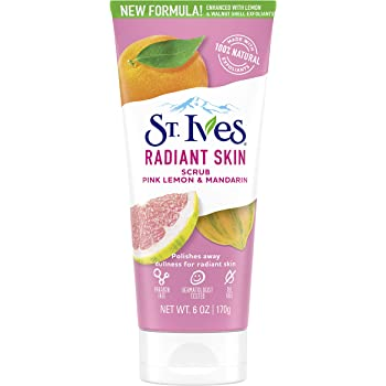 St. Ives Radiant Skin Face Scrub For Dull Skin Pink Lemon and Mandarin Orange Dermatologist-Tested Face Wash Scrub With 100% Natural Exfoliants 6 oz