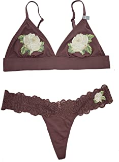 d8a9daa78d0d8f Victorias Secrets Pink Embroidered Triangle Bralette   Thong Set Large