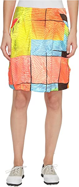 Jamie Sadock - Glow Print Crunchy Fabric Side Zip and Button 18 in. Skort