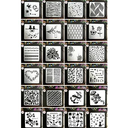 Lot de 24 pochoirs pour le dessin, le bricolage, la peinture-Juuly