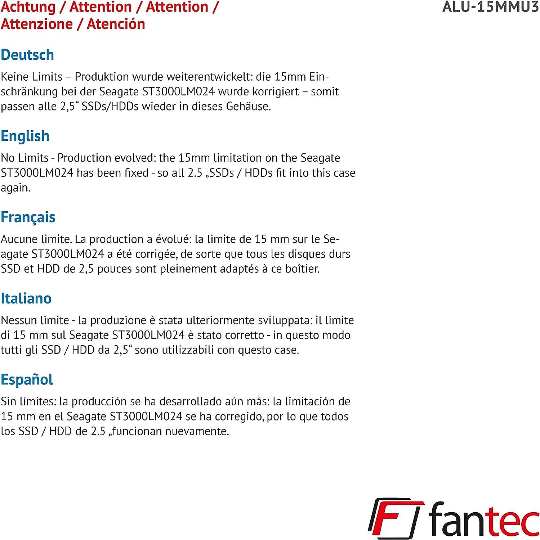 Fantec ALU20MMU20 Externes Festplattengehäuse für 20, 205 cm SATA ...