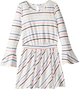 Multi Stripe Long Sleeve Dress (Big Kids)