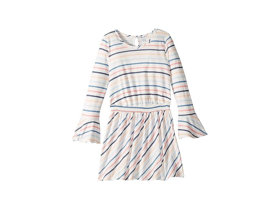 Splendid Littles Multi Stripe Long Sleeve Dress (Big Kids) (Off-White) Girl