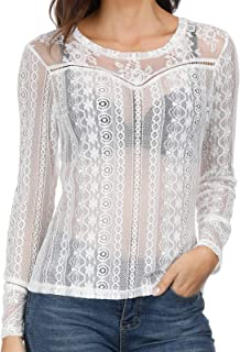 Women Long Sleeeve Mesh Lace Shirt Sheer See Through Top Blouse