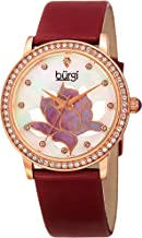 Burgi Swarovski Crystal Encrusted Women's Watch with Genuine Leather Strap –Mother of Pearl Dial with Mosaic Lotus Flower Design and Crystal Marker Accents -BUR159