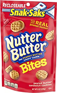 Nutter Butter Bites Peanut Butter Sandwich Cookies - Snack-Sak, 8 Ounce (Pack of 12)