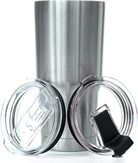 20 oz. Stainless Steel Tumbler Value Pack with 2 Lids - Double Wall Insulated Travel Cup - Keeps Ice Cold & Hot for Hours