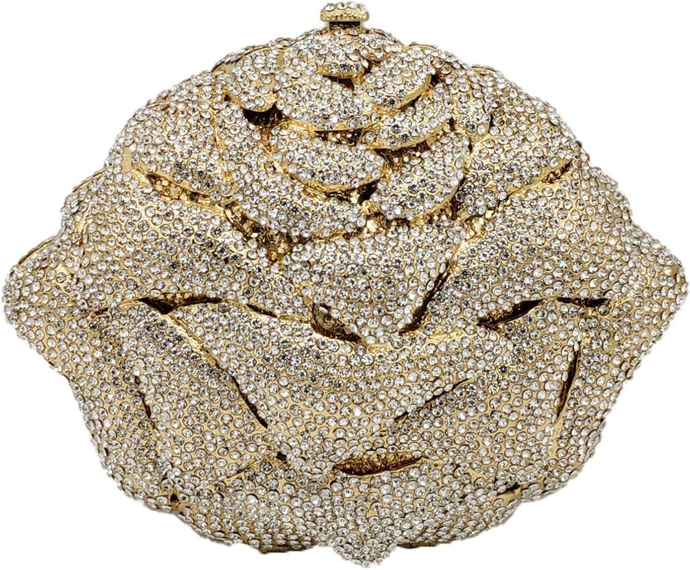 Women's Evening Bag Shiny Evening Bags Crystal Women Flower Clutch Bag Wedding Party Purse Bridal Diamond Floral Handbag (Color : Gold, Size : Small)