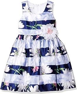 Bonnie Jean Girls' Floral Shadow Stripe Party Dress