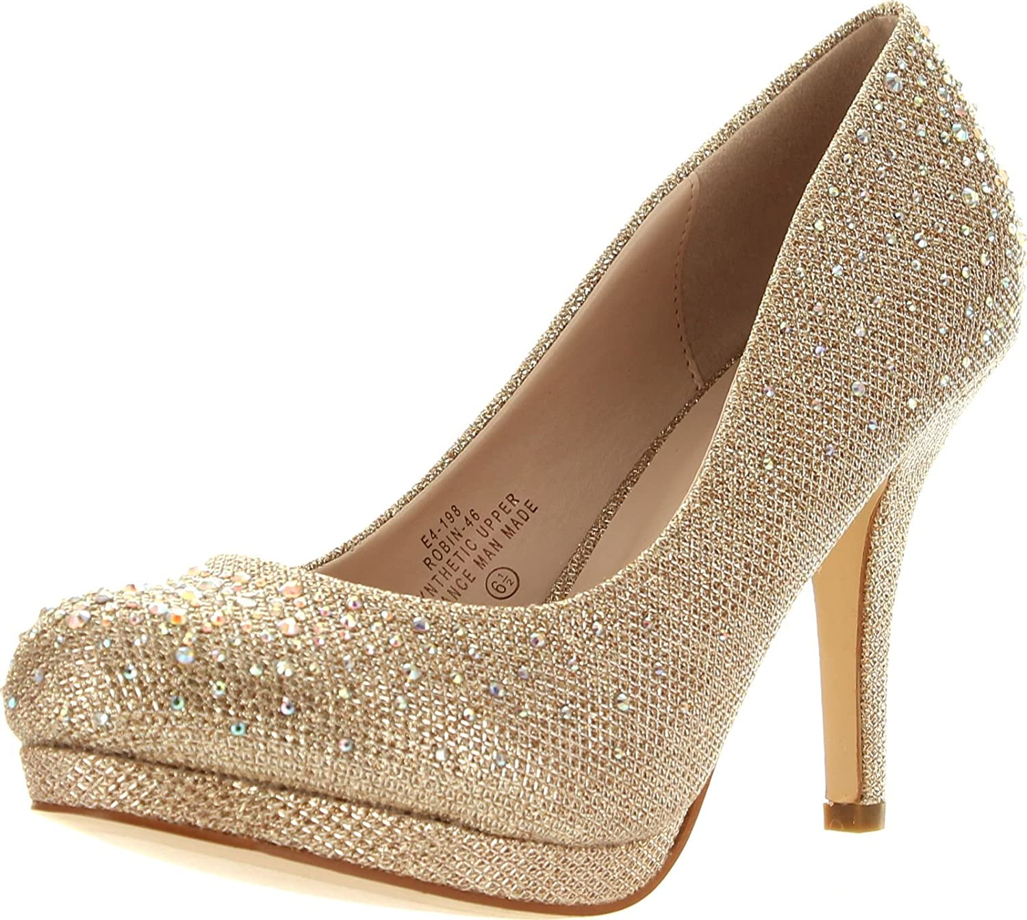 JJF shoes Blossom Womens Robin46 Rhinestone Sparkle Glitter Formal Evening Classic Low Heel Pumps,Nude,7
