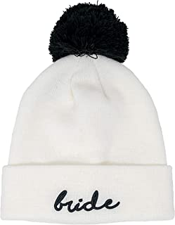 Funky Junque Womens Bride Beanie Embroidered Bride Squad Knit Pom Hat Skull Cap