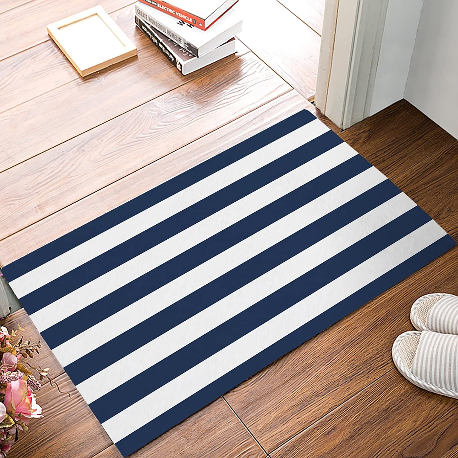 Family Decor Doormat for Entrance Way Indoor Bathroom Front Door Area Floor Mat Rugs Rubber Non Slip Waterproof Absorb Kitchen Runner Carpet, Classic Stripes Navy bluee (23.6 x15.7 )