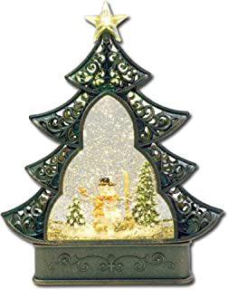 Kuda Moda Snowman Christmas Snow Globe, LED Star Light Christmas Tree Style, Battery Operated Swirling Glitter Water for Holiday Season Home Decor