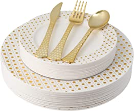 100 Piece Elegant Gold Disposable Plastic Plates & Plastic silverware Set Heavyweight Place Setting | Service For 20 Guests Includes 20 Dinner Plates 20 Dessert Plates 20 Forks 20 Spoons 20 Knives