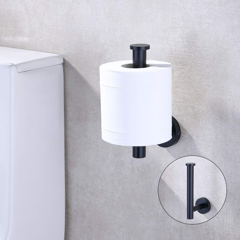 TASTOS Brushed Gold Toilet Paper Holder SUS304 Stainless Steel Toilet Paper Roll Dispenser Bathroom 5 inch TP Holder for Kitchen Washroom Modern Round Tissue Roll Holders Wall Mount