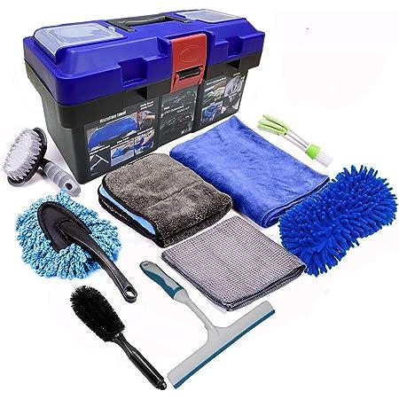 JANNIDE 9Pcs Car Wash Cleaning Tools Kit,Auto wash mitt Grey Microfiber Towel Wash Gloves Wheel Brush Applicator Pad Wash Sponge Microfiber Mitt Wash Gloves Microfiber mitt with polishing cloth