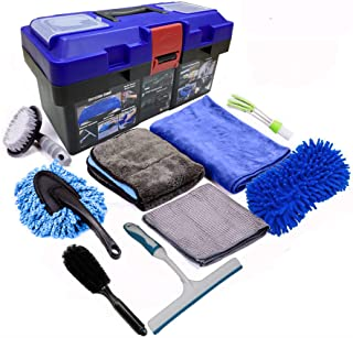 Snow Eagle-L 10Pcs Car Cleaning Tools Kit, Car Wash Tools Kit for Detailing Interiors Premium Microfiber Cleaning Cloth - ...