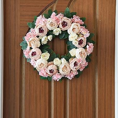 ETERNAL ANGEL Front Door Wreath Round Silky Artificial Peony Floral Spring Wreath Home Decor for Window Wall Indoor Outdoor C