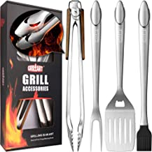 """GRILLART Heavy Duty BBQ Grill Tools Set. Snake-Eyes Design Stainless Steel Grill Utensils Kit - 18"""" Locking Tongs, Spatula, Fork, Basting Brush. Best Barbecue Grilling Accessories, Gift Box Package."""