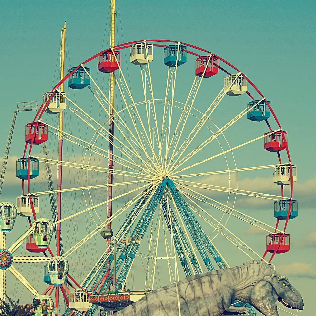 Amazon Com Vintage Style Photograph Of The Ferris Wheel T Rex At The Funtown Pier On The Seaside Park Boardwalk Jersey Shore Ferris Wheel And Dinosaur 2 Nursery Wall Art Fence ferris wheel 4k hd photography