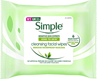 Simple Kind To Skin Facial Wipes Cleansing, 6 x 25 Wipes