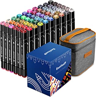 Permanent Art Markers Pens Set, EooUooIP 60 Colours Dual Tips Alcohol Based Art Markers with Durable Carrying Bag, Broad a...